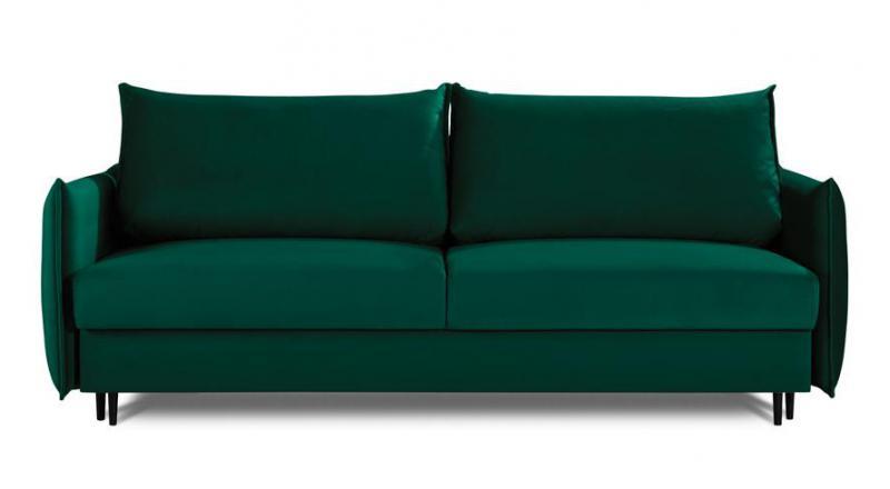 Sofa EGO 3 osobowa rozkładana w modnym zielono-butelkowym kolorze