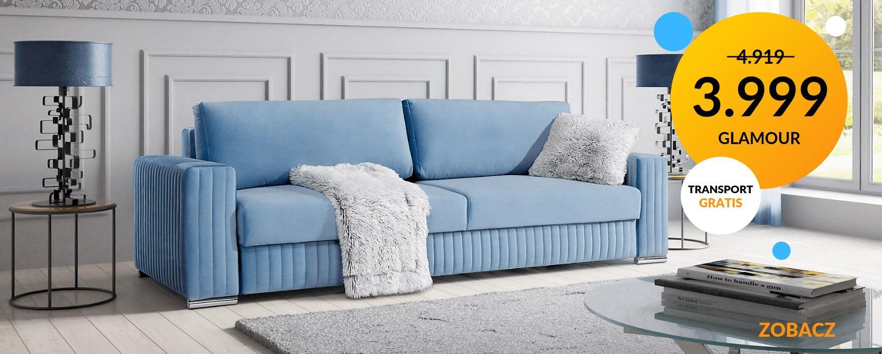 Piękna i wybitnie komfortowa sofa GLAMOUR z funkcją spania i pojemnikiem taniej o VAT! Transport gratis. Oferta dostępna w kilkunastu kolorach.