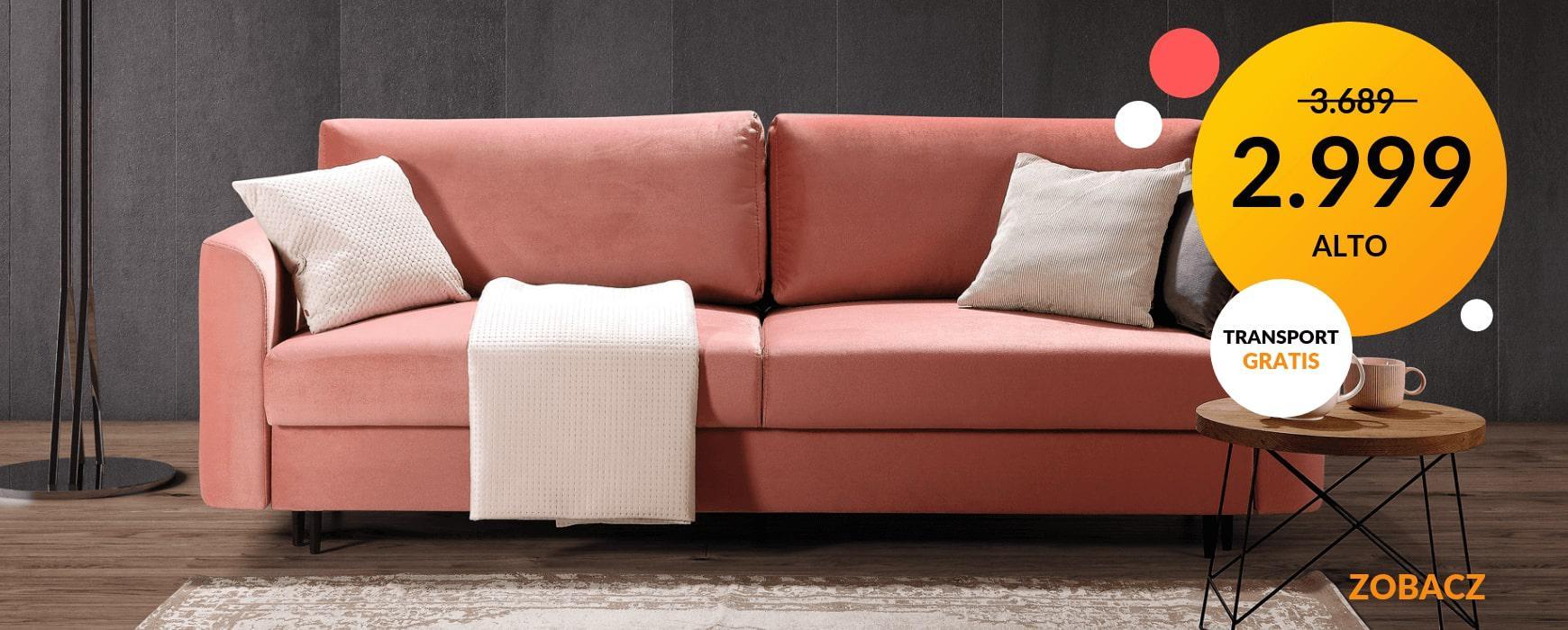 Wygodna sofa ALTO z funkcją spania w wybranych tkaninach kosztuje teraz tylko 2.999 pln. Transport gratis! Sprawdź!