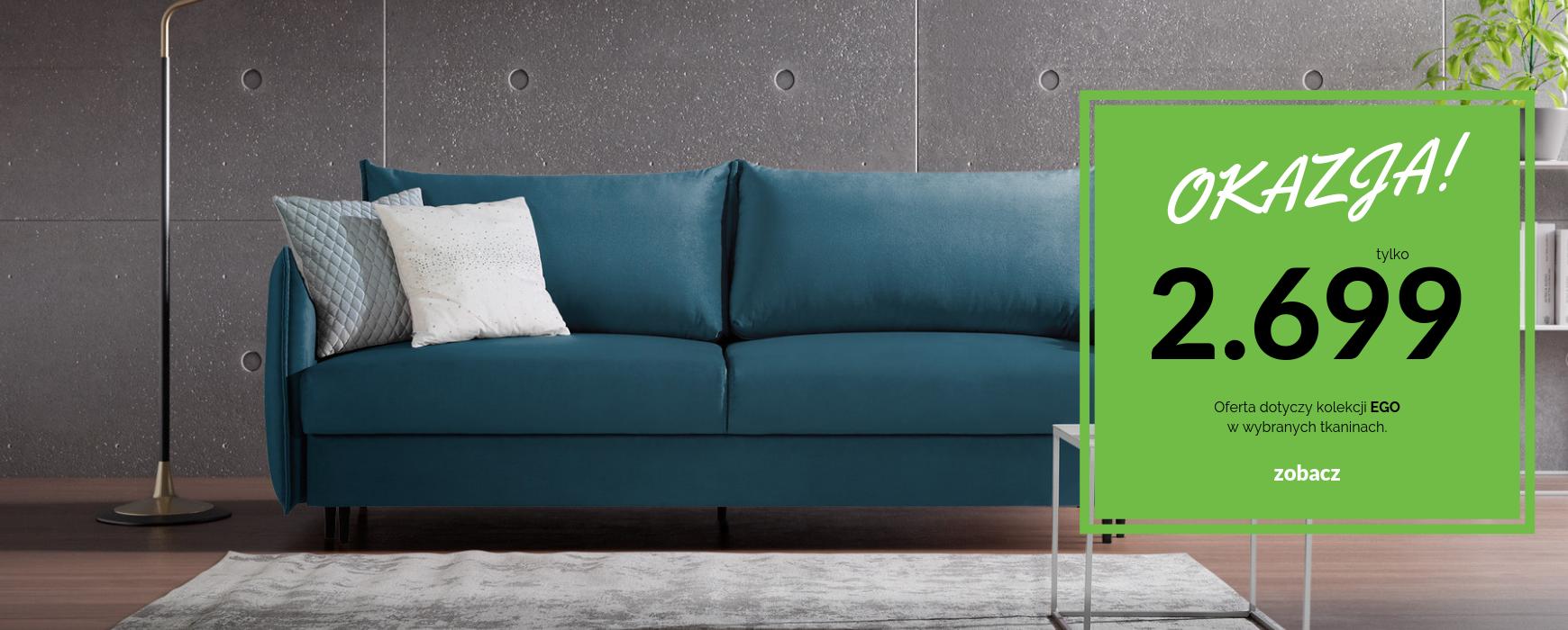 Komfortowa sofa EGO z funkcją spania i pojemnikiem taniej o VAT! Transport gratis. Oferta dostępna w kilkunastu kolorach.