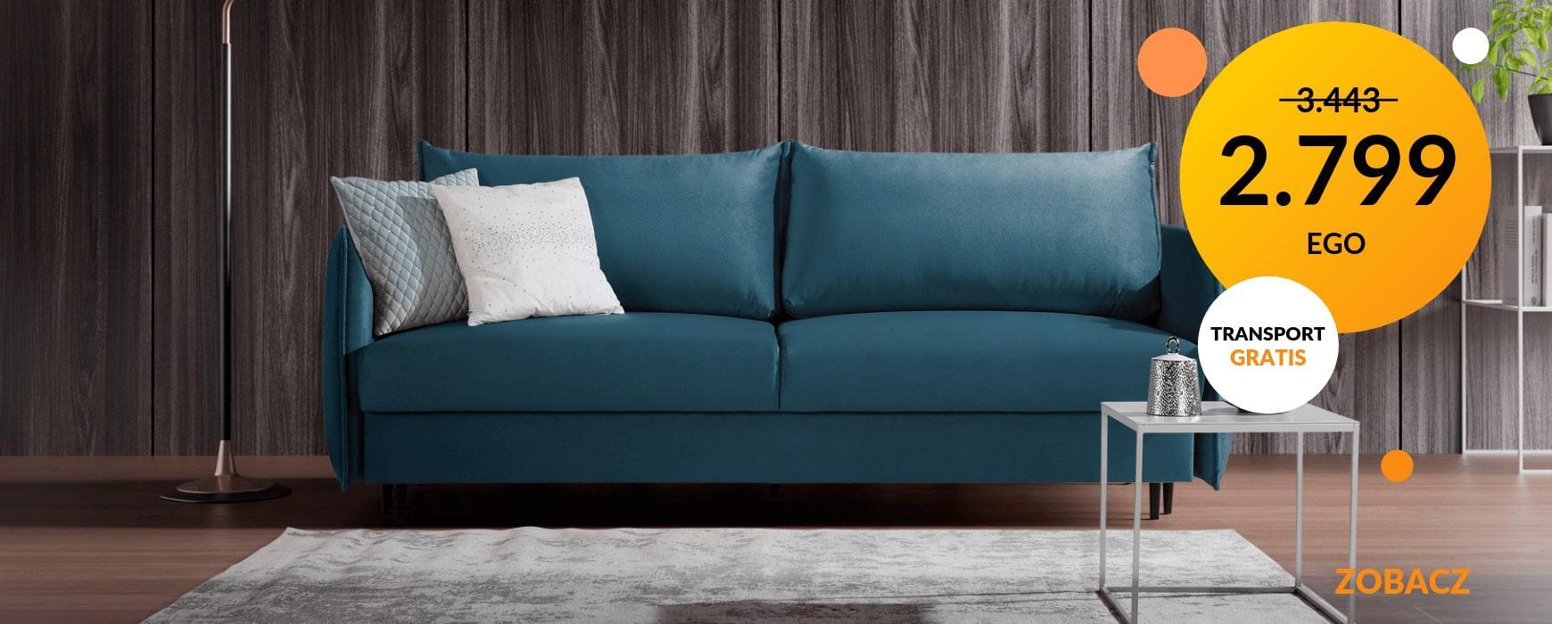 Komfortowa i designerska sofa EGO taniej o podatek VAT. W wybranych modnych materiałach dostępna od ręki. Transport gratis!